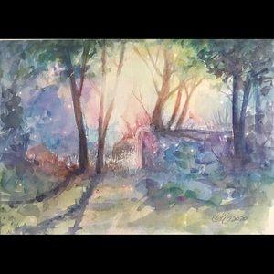 Original painting Sunset tree Landscape by artist